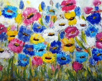 Original Painting Abstract Floral Impasto Oil Large Canvas Summer Flowers by Luiza Vizoli 42x21