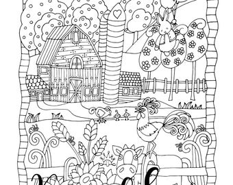 cow coloring book etsy. Black Bedroom Furniture Sets. Home Design Ideas
