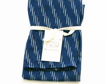 Navy Blue Stripe Kitchen Towel- Ikat Tea Towel- Housewarming Gift- Wedding Gift