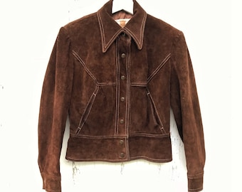 Vintage Brown Suede Jacket 70s Biker Fitted Sz Small