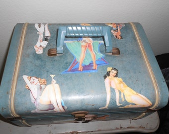 Blue Train Case w/Pinup Images/Decoupaged Overnight Case/50's Pin Up Girls