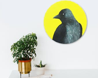 Bird painting; Jackdaw / Corvid - original painting, acrylics on 29cm round canvas