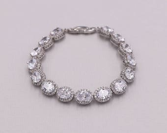 Bridal bracelet, oval wedding bracelet, cz bracelet, cubic zirconia bracelet, bridal jewelry, wedding accessories, Kallie Oval Bracelet
