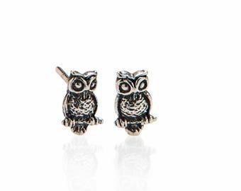 Dainty Silver Owl Earrings , Owl Stud Earrings , Stocking Stuffer , 925 Sterling Silver Owl Studs Jewelry