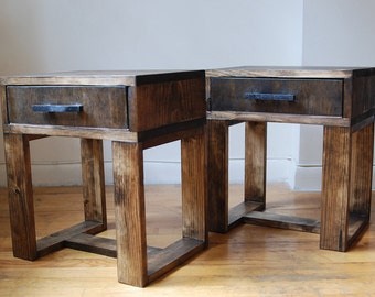 Pair of Short Reclaimed Wood Thin Leg Nightstands, Side Table, End Table with Drawer and Black Handmade Wooden Handle- Dark Walnut