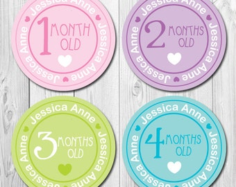 Personalized Girl Monthly Stickers, Baby Month Stickers Personalized, Milestone Stickers, Bodysuit Stickers Girl, Name Stickers, Pastel