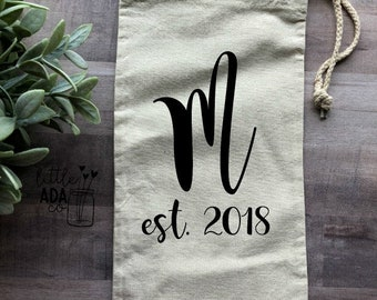Canvas Wine Tote-Personalized Wedding Gift-Wine Tote