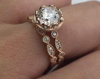 Art Deco Miligrain 14K Rose Gold 6.5mm FB Moissanite Diamond Wedding Ring Set