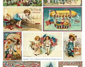 JULY 4th digital collage sheet DOWNLOAD Fourth Patriotic Victorian Vintage Images Cards ephemera children Independence Day fireworks flags