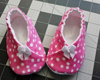 Kimono Baby Shoes,Pink Polka Dots Shoes,Toddler slippers,Soft Sole Baby shoes