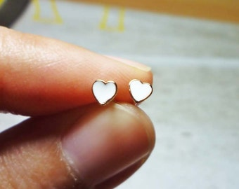 Tiny Lovely White Heart Stud Earrings, Dainty Earrings