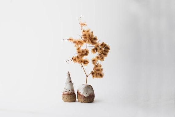 Stoneware Vase & Ring Cone Pair in Snow Cap