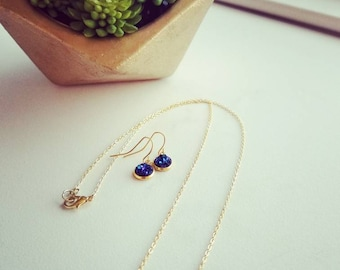 Blue and Gold galaxy set space nebula faux druzy gold crystal gift for her hypoallergenic trendy stylish boho style
