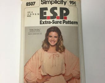 Vintage 70s Retro Maxi Dress Sewing Pattern Simplicity 8507 Pullover Dress and Shawl ESP Pattern