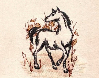 Horse Pen & Ink Drawing Tea Towel   Embroidered Kitchen Towel   Personalized Kitchen   Embroidered Towel   Horse Lover Gift   For Birthdays