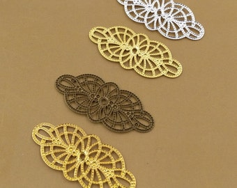 50PCS Brass 19x43mm Filigree Floral Base Setting Raw Brass/ Antique Bronze/ Silver/ Gold Plated Filigree Components Stamping
