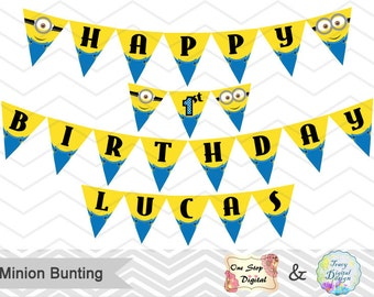 Printable Minion Banner, Minion Birthday Party Banner, Instant Download Minion Bunting, Minion Birthday Party Banner Bunting 0006
