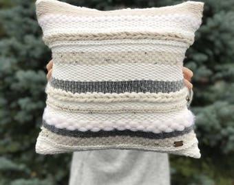 Handwoven pillow / Striped throw pillow / Luxury woven decorative pillow / Ecru gray pillow / Scandinavian pillow / Accent bedroom cushion