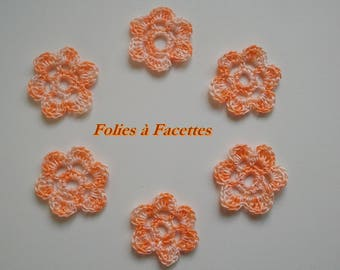 6 flowers in ombre orange and white cotton crochet