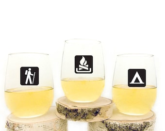 Stemless Wine Glasses - Wilderness Area Symbols - Pick Your Glasses
