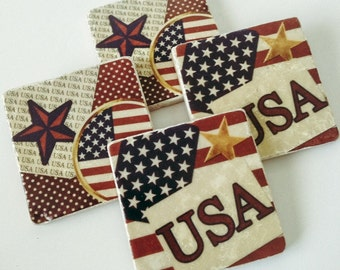USA Flag Stone Coasters - Patriotic - Natural Stone - Memorial Day - Veterans Day - July 4th - Set of 4