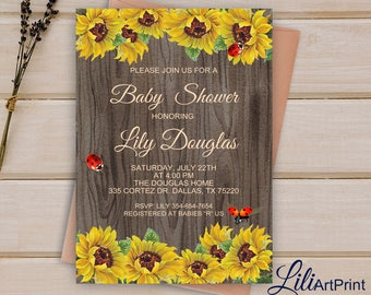 Sunflower baby shower invitation printable baby shower sunflower baby shower invitation printable baby shower sunflower baby shower invite rustic baby shower invitation digital file b 56 filmwisefo
