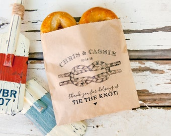 Nautical Wedding Theme - Soft Pretzel Favor Bags - Tie the Knot - Personalized Bag - 20 Customized Grease Resistant Bags