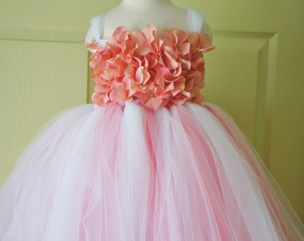 Flower Girl Dress, Tutu Dress, Girls Dress, Ivory dress, Toddler dress, Baby Photo Prop, in Coral Pink and Ivory, Flower Top, Tutu Dress