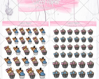CupCake Bear Sticker B0036