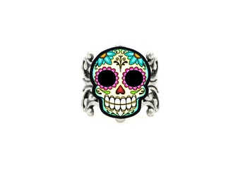 Sugar Skull and Daisies Dia de los Muertos Adjustable Silver Ring