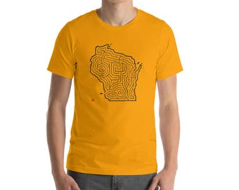 Adult Wisconsin Map Maze Short Sleeve T-Shirt | Milwaukee/Madison/Green Bay/Eau Claire (Various Color Options)