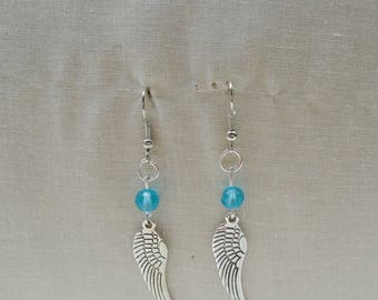 Wings with blue glass beads earrings