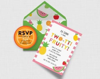 "Two-tti Fruity 5"" x 7"" Invitation - Fruit Second Birthday - Digital or Printed"