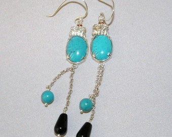 Robins Egg Blue Turquoise and Onyx Shoulder Duster Earrings