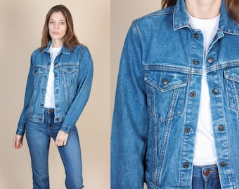 90s Denim Jacket - XXS // Vintage Grunge Medium Wash Jean Jacket