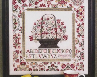 ROSEWOOD MANOR Cornwall Cottage Sampler counted cross stitch patterns at thecottageneedle.com flowers gardening