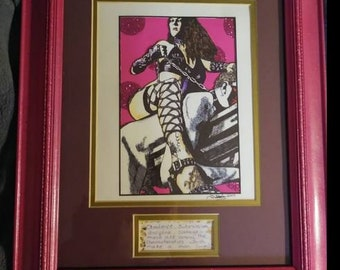 Femdom. Ink and watercolor double sheet framed original