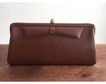Vintage Clutch Purse, 60s Clutch Purse, Brown Clutch Purse, Faux Leather Clutch, Vintage Vegan Clutch