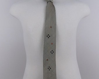 1950's 1960's Silk Skinny Necktie with Diamonds Graphic