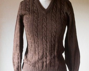 Cable knit Brown V neck Vintage 50s Jantzen Sport wool sweater Womens Small / Wool Jumper Dark Brown Vintage Country Squire Fitted Wool