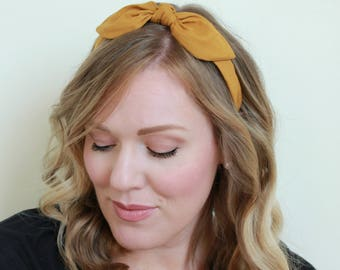 Gold Bow Headband Hair Accessories Womens Headband Gold Headband Fabric Headband Adult Headband Scarf Headband Mustard Yellow Headband