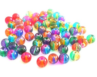 60 round translucent glass two-tone 8mm beads
