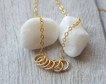 Gold filled chain necklace, 7 lucky gold rings gold chain necklace good luck necklace