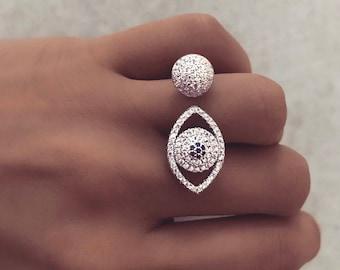 EVIL EYE RING - statement ring, fashion ring, silver ring, evening ring, glam ring, handmade ring, sterling silver ring, cubic zirconia ring