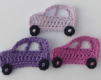 Applique cars, Crochet applique, 3 small crochet cars,  cardmaking, scrapbooking, appliques, handmade, sew on patches. embellishments