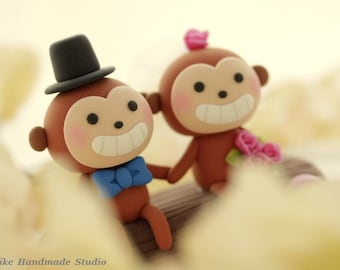 monkey wedding cake topper-----k775