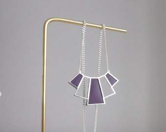 Sleek silver necklace with purple leather perfect women gift