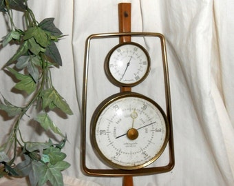 Vintage Danish barometer vintage Airguide relative humidity and barometer gauge brass mid century Danish Modern weather station man cave