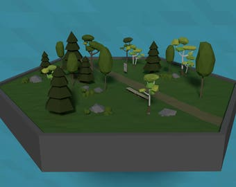 LowPoly Forest Scene - Instant Download