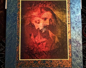 Jesus into Mary Sorrowful Mother (RED) Beautiful Colorful Mounted Antique Look Religious Devotional Art. Great Gift!